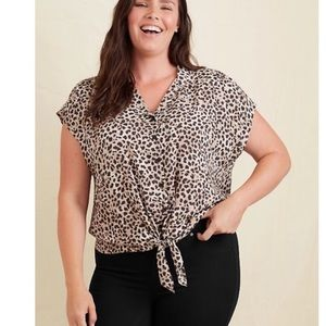 NWT Torrid Leopard Print Tie Waist Top